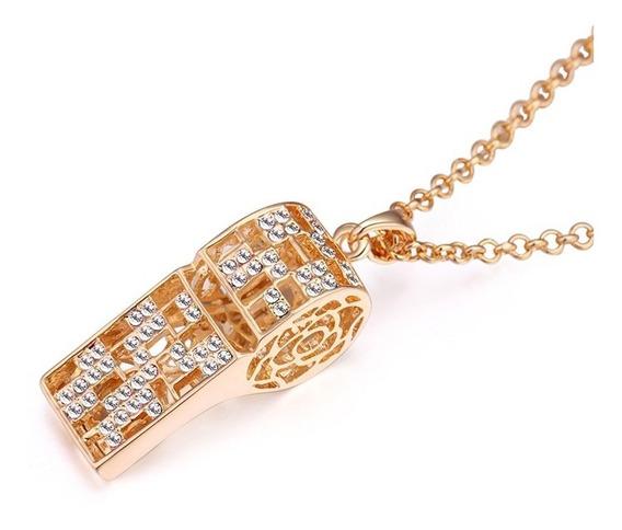 Collar De Chapa De Oro Con Zirconia - 1062