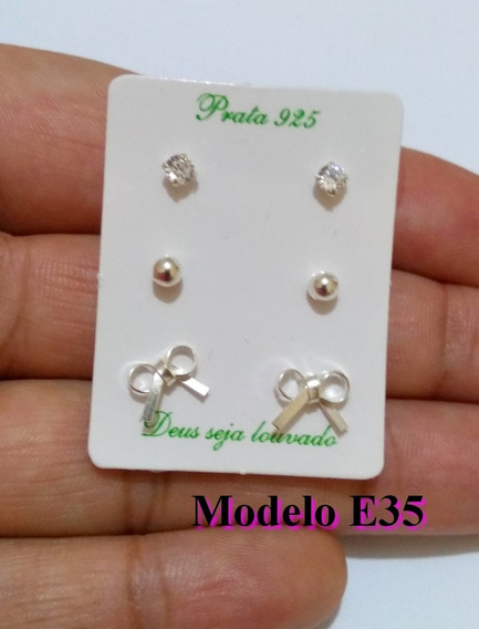 Brinco De Prata Modelo Lacinho Delicado Feminino Prata 925!!