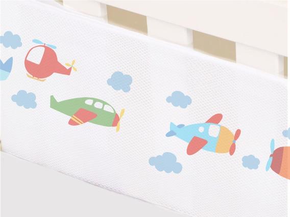 Protetor Berço Tela Respirável Bebê Aviao Decoracao 2 Lados