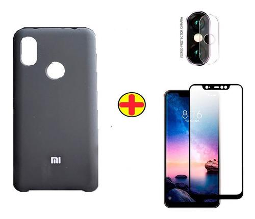 Estuche Protector Xiaomi Note 6 Silicone + Vidrio 6d + V.cam