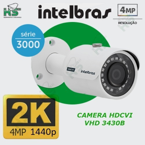 Camera Intelbras Hdcvi Vhd 3430b Bullet 3.6 4mp 1440p 2k Nfe