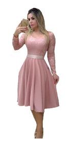 Vestido Feminino Rosê Midi C/brinde Moda Evangélica