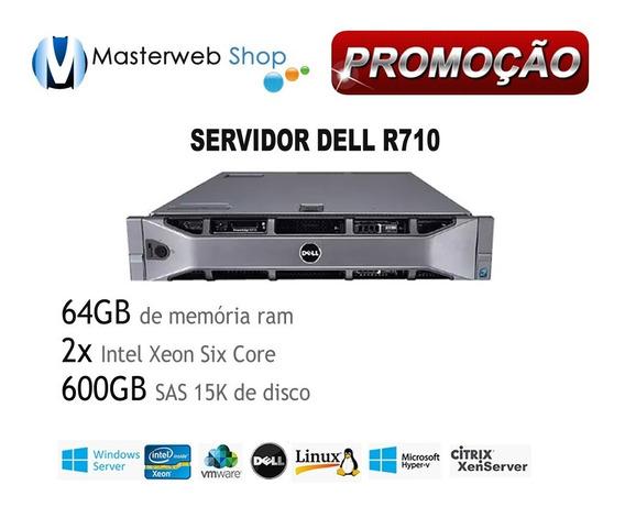 Servidor Dell Poweredge R710 - 64gb De Memória 2xsix Core