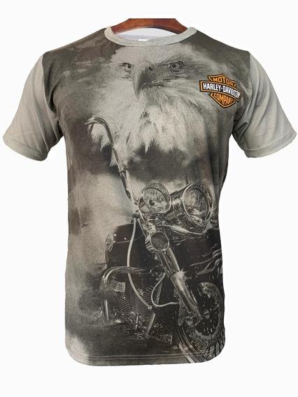 Remera Harley Davidson Eagle Gray Sublimada