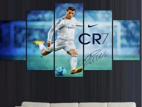 Quadro Cristiano Ronaldo Cr7 5 Peças Mosaico Mdf6mm