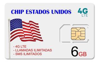 Sim Card Usa Chip Estados Unidos 4g Lte - 6gb Internet