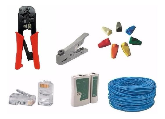 Kit Ferramentas Para Rede C/50m Cabo+conectores+alicate+test
