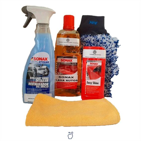 Kit Lavado Autos Sonax Exterior Shampoo + Guantes + Otros.