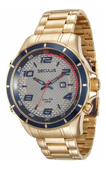 Relógio Seculus Masculino Dourado Long Life 28768gpsvda1