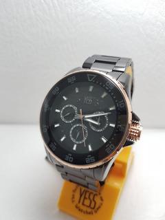 Reloj Yess S16075s Negro Oro Rosa Hombre Original