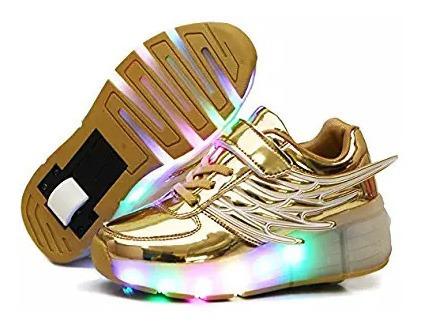 Zapatos Tenis Patin Con Luces Led (ruedas) Importados De Usa