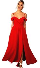 Vestido Fiesta Largo Talles Grandes Rojo Selena69 S1226