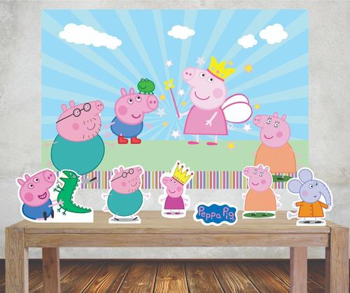 Imagem 1 de 5 de Painel 1,00x0,70m Peppa Pig  E Displays Mesa Festa Infantil