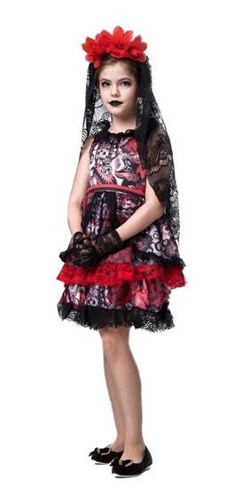 Roupa De Rainha Dos Mortos Infantil Halloween Completa + Nf