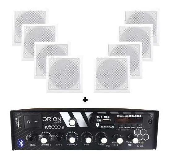 Kit Som Ambiente 300w Bluetooth 8 Caixas P/gesso Quadradas