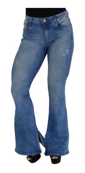 Calça Feminina Jeans Flare Aberta Lados Lycra Cintura Alta