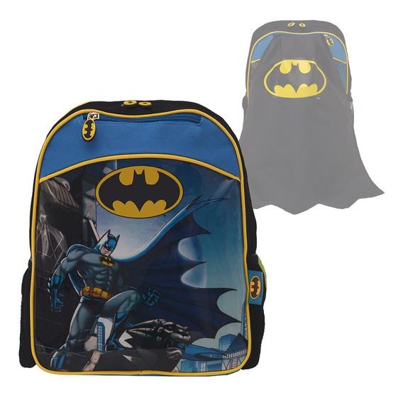 Mochila Batman Con Capa Escuela Jardin 30cm Espalda 12