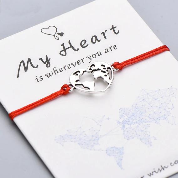 Pulseira Pingente Mundo - Meu Coração Está Onde Você Estiver