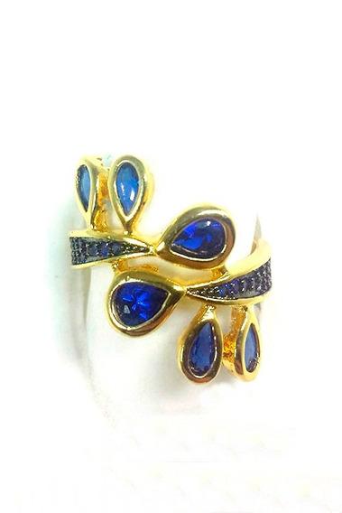 Anel Semi Joia Folheado A Ouro Com Zircônias Azul Safira