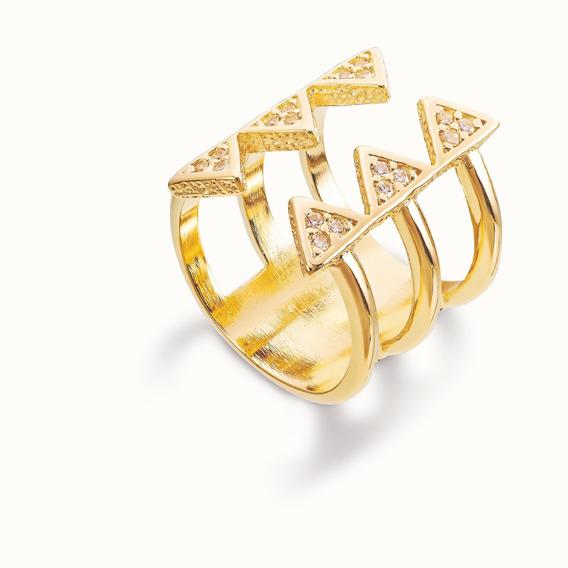 Anel Ronnelly Folheado A Ouro 18k - Seis Triângulos - Tam 18