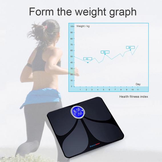 Excelvan Bluetooth Cuerpo Grasa Escala 180kg/400lbs Negro