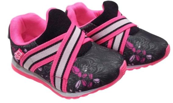 Tenis Feminino Infantil Preto Pink Free Kidy 0306
