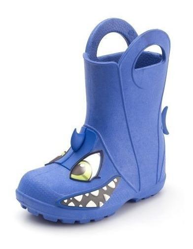 Bota Galocha Plugt Tubarão Infantil - Azul Frete Grátis