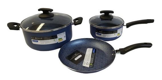 Set Bateria Ollas Ramos Cocina 5 Piezas Teflon La Belle Azul