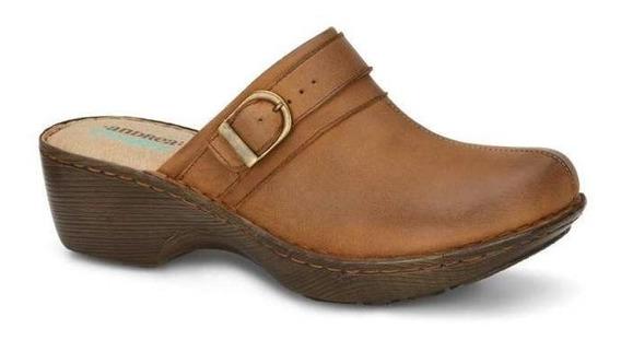 Zapato Dama Diseño Unico Hebilla 100 % Piel, Suela Madera