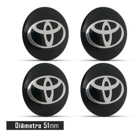 Jogo 4 Emblema Logo Adesivo Roda Toyota Preto 51mm