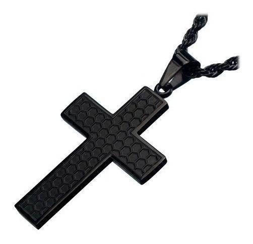 Corrente De Aço Preto Inoxidavel Com Crucifixo Preto Inox