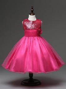 Lindo Vestido Infantil - Festa - Paetês - Rosa Pink