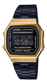 Relógio Casio Unissex A168wegb-1bdf Retrô Black/gold Digital