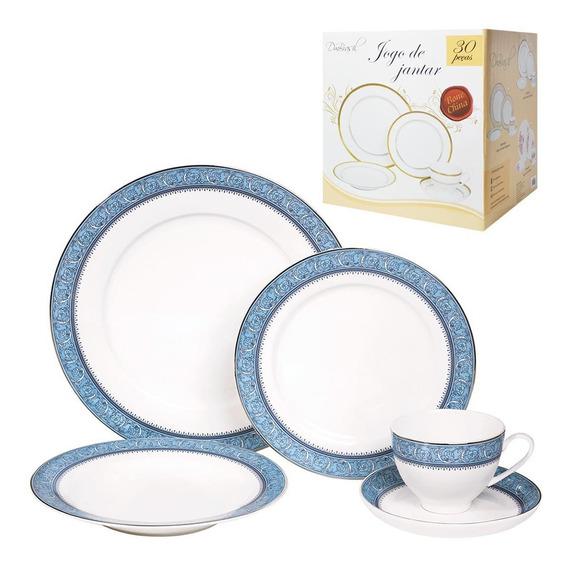 Jogo De Jantar 30 Pecas Porcelana Xicara Prato Pires Cozinha