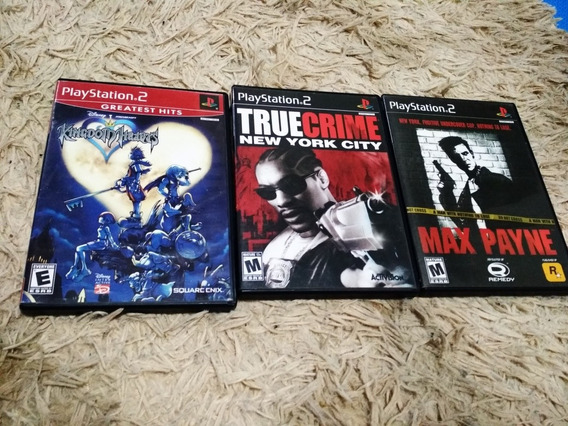 Max Payne, True Crime E Kingdom Hearts Ps2 Originais