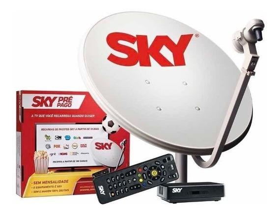 2 Receptores Sky Pré Pago Hd Livre 12 Meses + Antena De 60cm