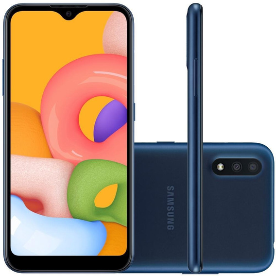 Celular Samsung Galaxy A01 Azul 32gb Tela 5.7 Cam 13mp 2mp