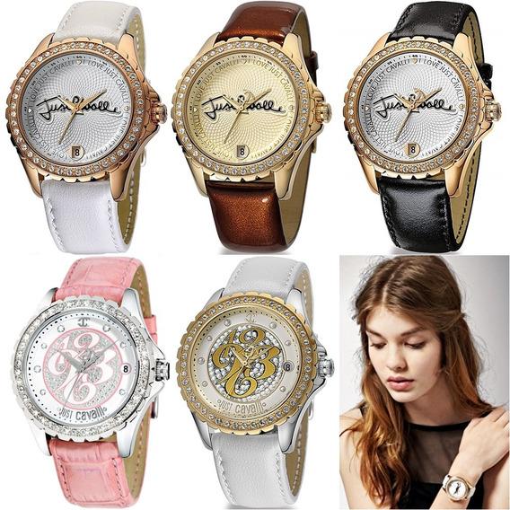 Relógio Feminino Dourado Prata Original Just Cavalli Couro