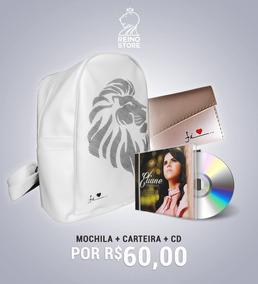 Mochila De Couro Estampa Leão+carteira Rosa+eliane Fernandes