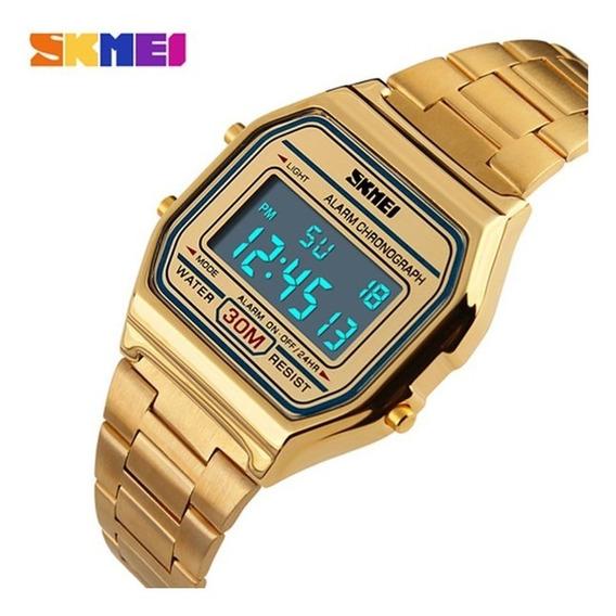 Relógio Feminino Skmei 1123 Led Vintage Top Dourado Promoção