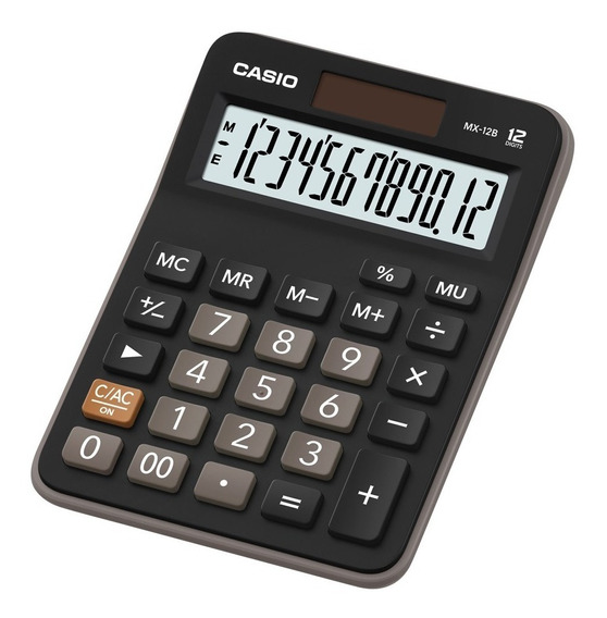 Calculadora De Mesa Casio Mx-12b Preta 12 Dígitos Solar