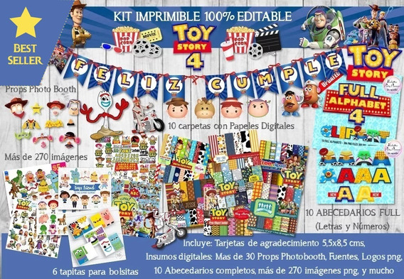 Kit Imprimible Toy Story 4 Editable + Props + Imagenes