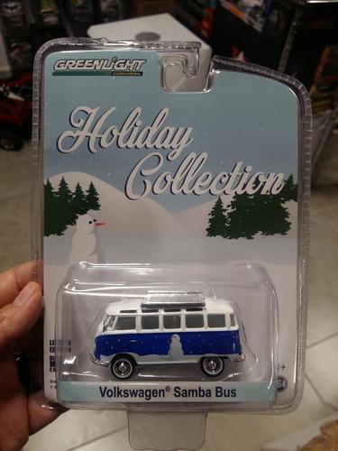 Greenlight Holiday Collection Vw Samba Bus Combi Azul Nieve