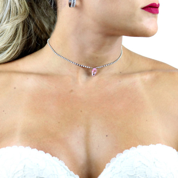 Chocker Em Zircônia Branca E Cristal Quartzo Rosa Cl020086