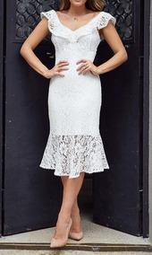 Vestido Noiva Midi Casamento Civil , Moda Evangelica #806