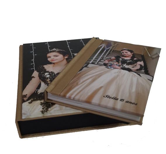 Album Encadernado 25x25 - 15 Lâminas Com Estojo Fotográfico