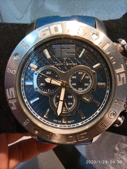 Relógio Masculino Jean Vernier Cor Azul.