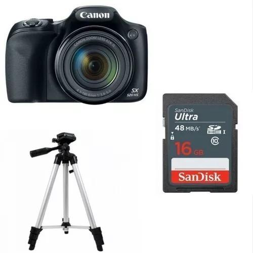 Camera Canon Kit Iniciante P/ Youtuber Sx530hs+tripe+16gb80 Mb/s