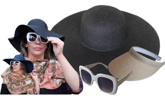Óculos De Sol Feminino + Chapéu Aba Larga Floppy +viseira