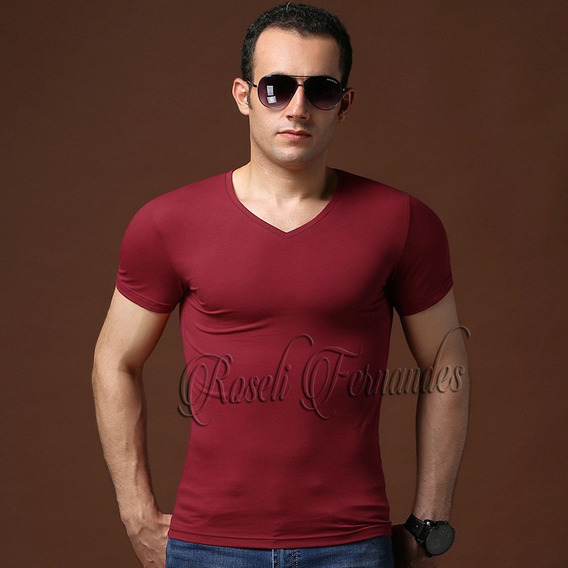 Kit 4 Camisetas Masculina Regata Slim,gola V,academia Blusas
